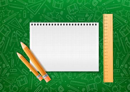 Notebook with pencil and liner in realistic style on green background with school doodle illustrations. Vector illustration design