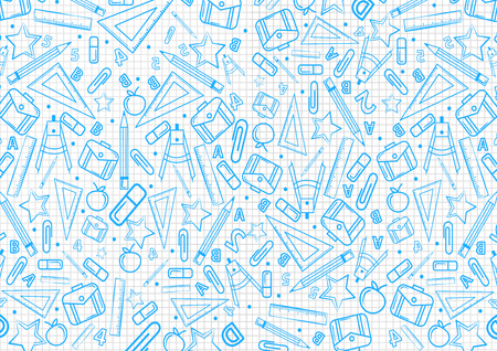 Back to school concept pattern on notebook with blue school things illustrations . Vector illustration design background
