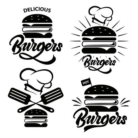 Burger logo set with lettering. Emblem, icon, label for restaurant or cafe design. Burger lettering illustration.Vector