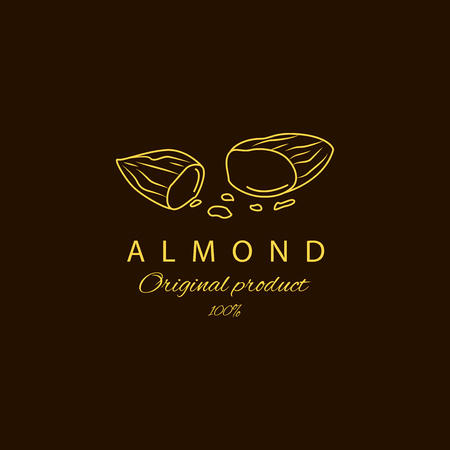 Vector almond logo design templates and emblem. Beauty and cosmetics oils - almond. Logo in linear style Ilustração