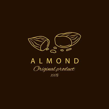 Vector amandel logo ontwerpsjablonen en embleem. Schoonheids- en cosmetica-oliën - amandel. Logo in lineaire stijl Logo