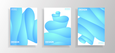 Set of abstract wave illustrations with gradients. Creative posters. Vector illustration design