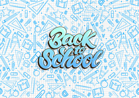 Back to school lettering. Pattern on notebook with blue school things illustrations . Vector illustration design background