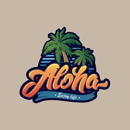 Colourful Aloha typography with palm tree .Aloha lettering logo. Illustration for print on T-shirt Illustration