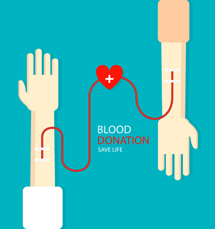 Blood donation concept for poster. Health care. Vector illustration.