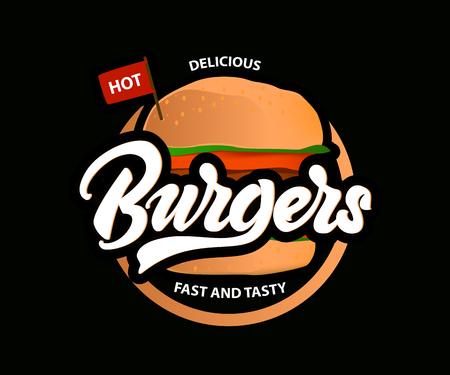 Deliciosas hamburguesas calientes vector logo con letras. Comida rápida . Vector Logos