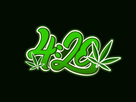 4:20 Marijuana in lettering style with leaf .Cannabis. Vector illustration design. Ilustrace