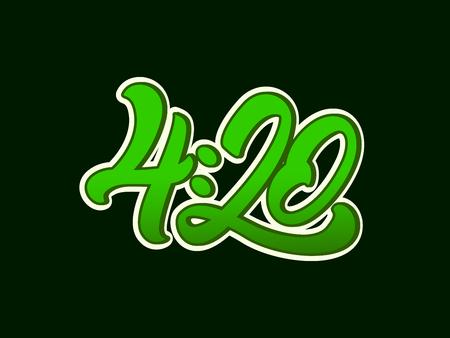 4:20大麻,用叶子刻字。大麻。矢量插图设计。