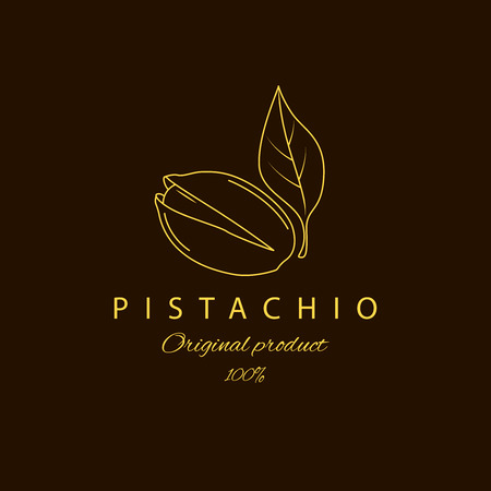 Original product pistachio with leaf .Natural pistachio oil. Vector round pistachio logo. Logotype in linear style