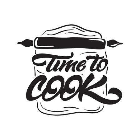 Time to cook lettering illustration with rolling pin. Vector illustration logo Çizim