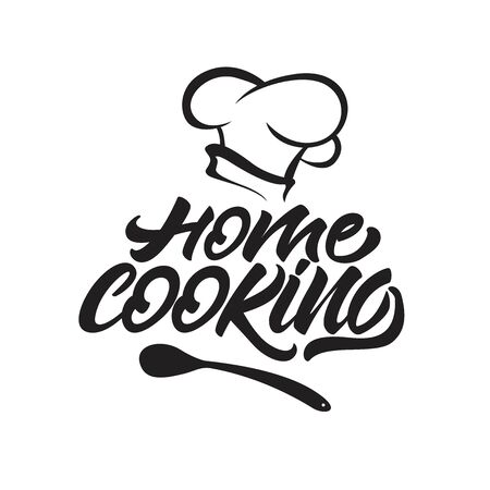 Home cooking lettering logo with chef's hat . Vector illustration.