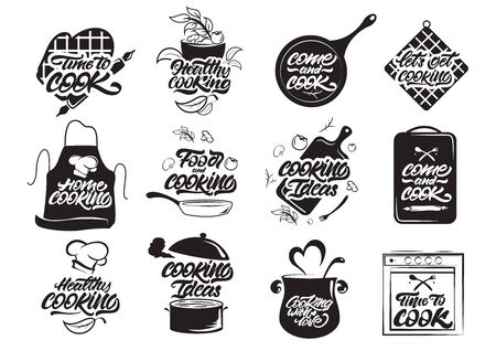Cooking logos set. Healthy idea. Cook, chef, kitchen utensils icon. Handwritten lettering vector illustration