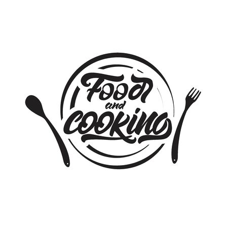 Food and cooking lettering on plate . Vector illustration. Çizim