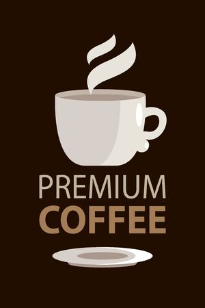 Premium coffee in typography style with cup illustration. Emblem or logo. Vector illustration design. Vectores