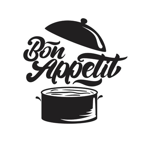 Bon appetit lettering with pan illustration. Vector illustration Çizim