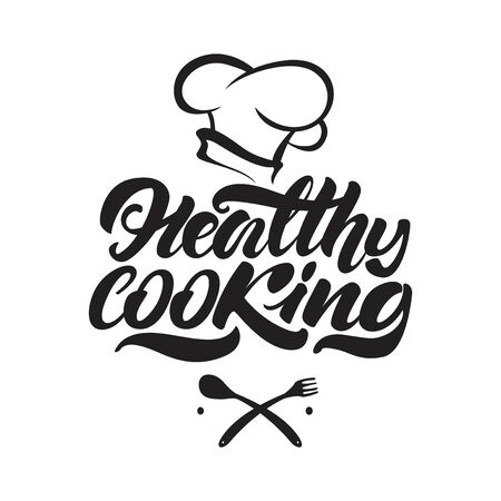 Healthy cooking lettering logo illustration with chef's hat. Vector illustration design Çizim