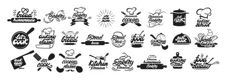 Big set of cooking and bakery logos in lettering style. Bread emblems. Cook, chef, kitchen utensils icon or logo. Handwritten lettering vector illustration