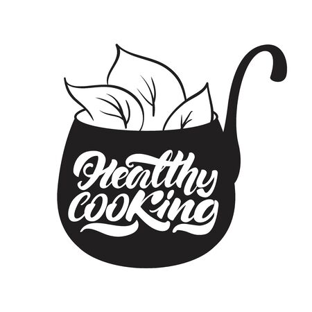 Healthy cooking lettering illustration. Vector illustration design.