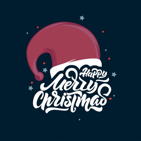 Merry Christmas lettering on Santa Claus hat . Happy New Year 2018.Christmas Typography. Vector emblems, text design. Lettering for banners, greeting cards, gifts