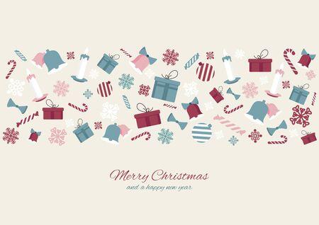 Merry Christmas colourful element icons banner background. Vector illustration design. Ilustração
