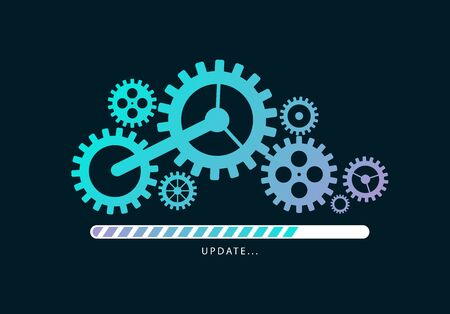 Loading or updating files with mechanism illustration. Vector illustration design.