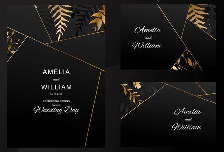 Wedding invitation. Gold Flowers, leaves on black background. Golden line floral. Vector 向量圖像