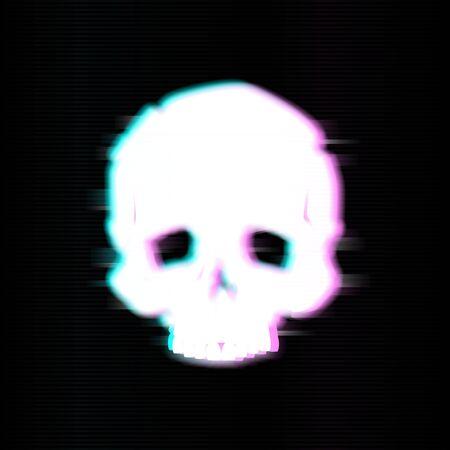 Skull in glitch style. Vector illustration design.