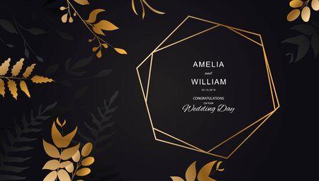 Golden flower on black background .Gold leaf with lines. Floral brochure, card, cover Vector. Illustration