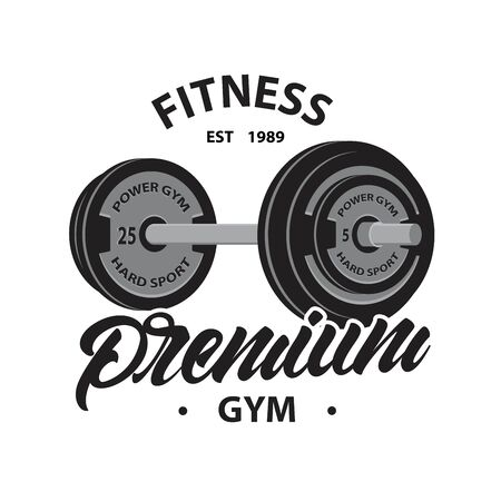 Fitness emblem with Weightlifting barbell in lettering style premium gym. Vector illustration design.
