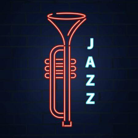Cornet jazz instrument neon. Jazz music. Vector neon illustration Vectores