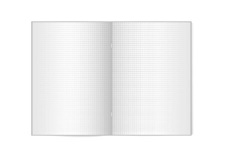 Opened vertical magazine with metallic silver clamp, brochure or notebook template on white background. 3d illustration for your design. Vector mock up. Cell lined notebook