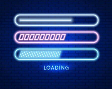Loading or updating in neon style. Light effect. Vector illustration design. Çizim
