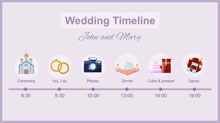 Wedding timeline. Menu on wedding theme plan. Vector Vettoriali