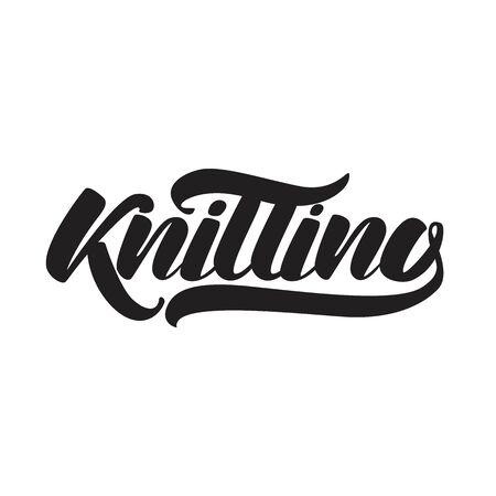Knitting . Pink emblem. Vector