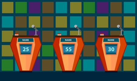 Quiz game with three tables with colorful flat cartoon background. Quiz brainy game.