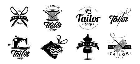 Tailor shop  emblem. Tailoring concept. Knitting. Vector illustration design. Illustration
