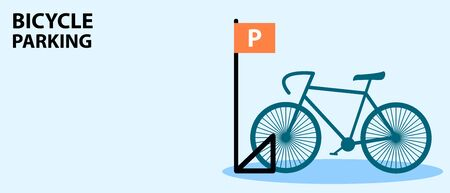 Bicycle Parking with bike in flat style. Flyer or banner. Vector Illustration design . Çizim