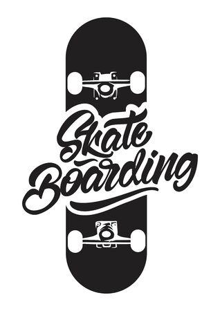 Black and white Skateboarding with skate illustration for T-shirt print. Vector illustration design.