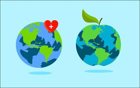 World health day concept . Apple earth . Vector Çizim
