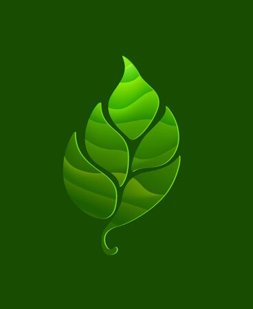 Leaf logotype with green background in paper style. Natural for you business. Environment and ecology design.