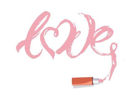 Love lettering with lipstick.Slogan. Fashion. Vector illustration design. Çizim