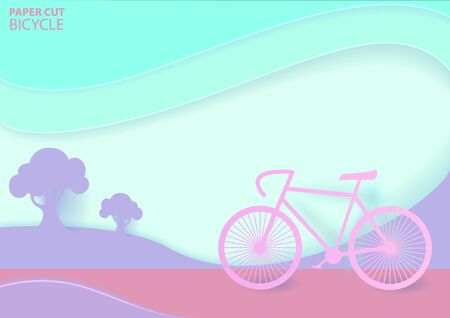 Road trip on bike with pastel colours in paper cut origami. Travel. Vector illustration design.