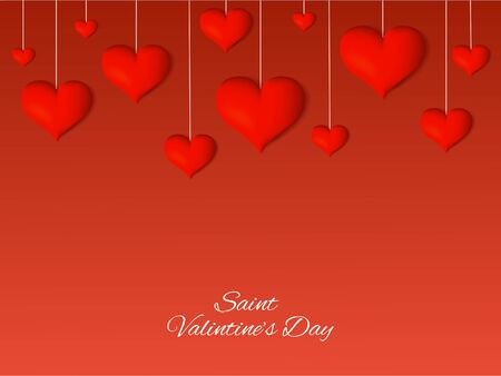 Saint Valentine's Day background with realistic hearts and text. Vector