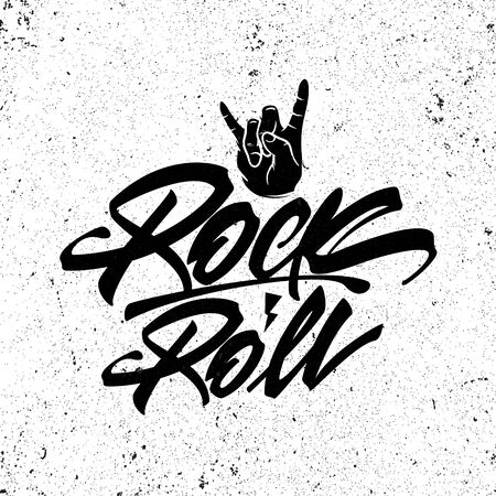 Rock and roll lettering poster. Vector graphic for t shirt. Çizim