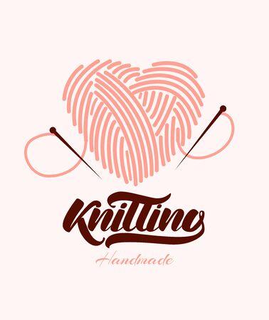 Knitting. Ball of yarn in heart with needles. Vector illustration Çizim