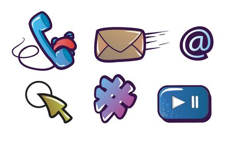 Isolated social media signs and other fun illustrations in Graffiti style. Vector Çizim