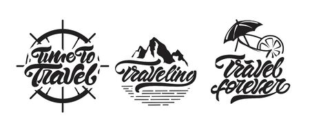 Travel emblems mini set with mountain and cocktail . Vector