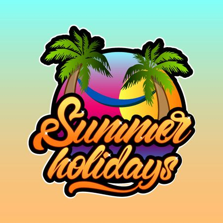 Summer holidays in lettering style with palm trees and sunset . Vector illustration design.
