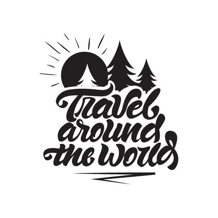Travel around the world in lettering style. Travel with sun and trees illustration. Vector illustration design. Çizim