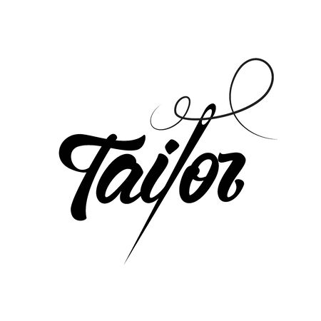 Tailor shop emblem in lettering style with needle. Vector illustration design.
